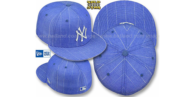 Yankees 'METALLIC PINSTRIPE' Blue Fitted Hat by New Era : pictured without stickers that these products are shipped with