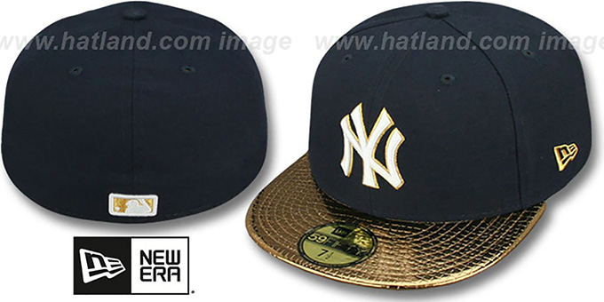 Yankees 'METALLIC SLITHER' Navy-Gold Fitted Hat by New Era : pictured without stickers that these products are shipped with
