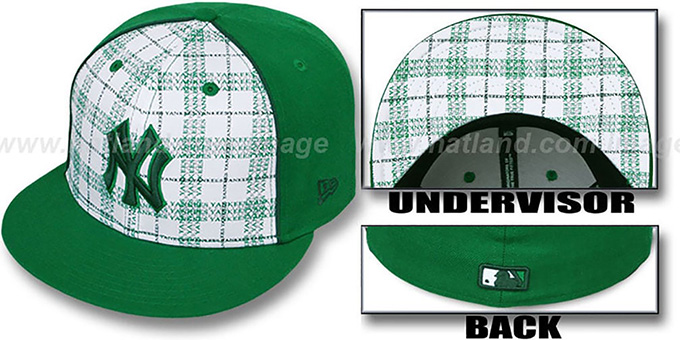 Yankees 'MIMIC PLAID' White-Green Fitted Hat by New Era : pictured without stickers that these products are shipped with