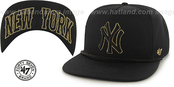 Yankees 'MINE-SHAFT STRAPBACK' Black Hat by Twins 47 Brand : pictured without stickers that these products are shipped with