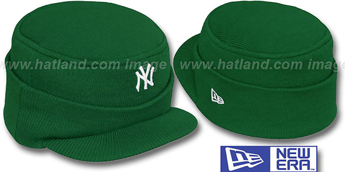 Yankees 'MINI-BRIM RILEY' Green Knit Hat by New Era : pictured without stickers that these products are shipped with