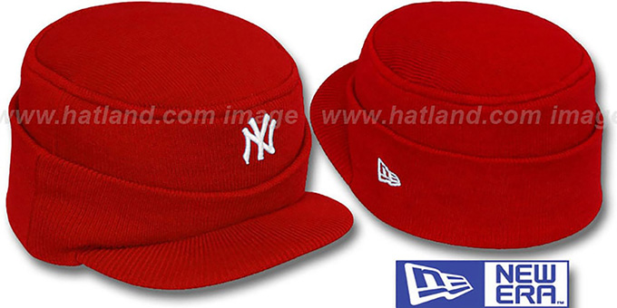 Yankees 'MINI-BRIM RILEY' Red Knit Hat by New Era : pictured without stickers that these products are shipped with