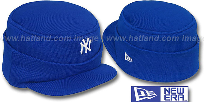 Yankees 'MINI-BRIM RILEY' Royal Knit Hat by New Era : pictured without stickers that these products are shipped with