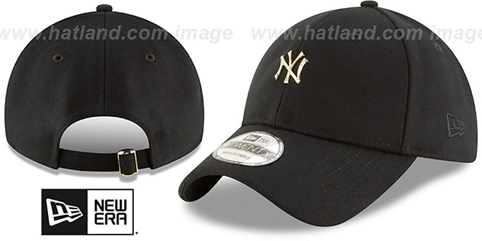 Yankees 'MINI GOLD METAL-BADGE STRAPBACK' Black Hat by New Era : pictured without stickers that these products are shipped with