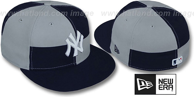 Yankees 'MIXER' Navy-Grey Fitted Hat by New Era : pictured without stickers that these products are shipped with