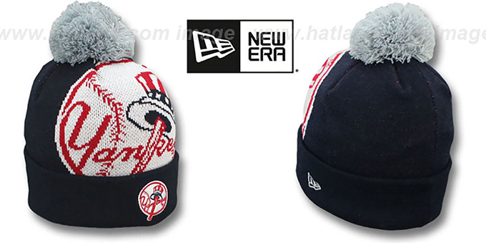 Yankees 'MLB-BIGGIE' Navy Knit Beanie Hat by New Era : pictured without stickers that these products are shipped with