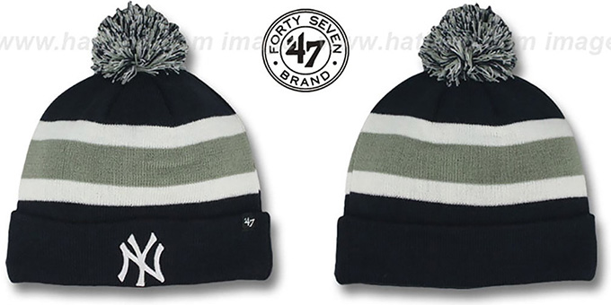 Yankees 'MLB BREAKAWAY' Navy Knit Beanie Hat by 47 Brand : pictured without stickers that these products are shipped with