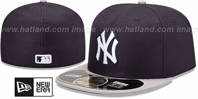 Yankees 'MLB DIAMOND ERA' 59FIFTY Navy-Grey BP Hat by New Era : pictured without stickers that these products are shipped with
