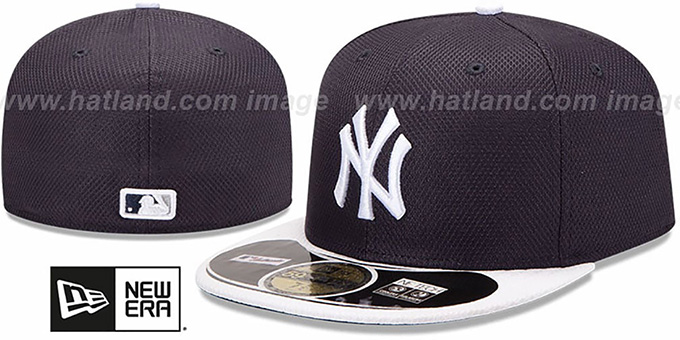 Yankees 'MLB DIAMOND ERA' 59FIFTY Navy-White BP Hat by New Era : pictured without stickers that these products are shipped with