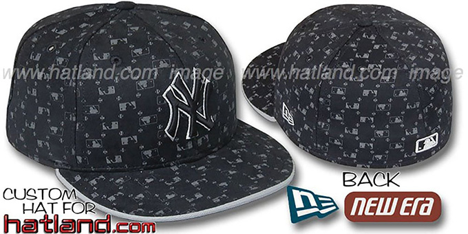 Yankees 'MLB FLOCKING' Black Fitted Hat by New Era : pictured without stickers that these products are shipped with