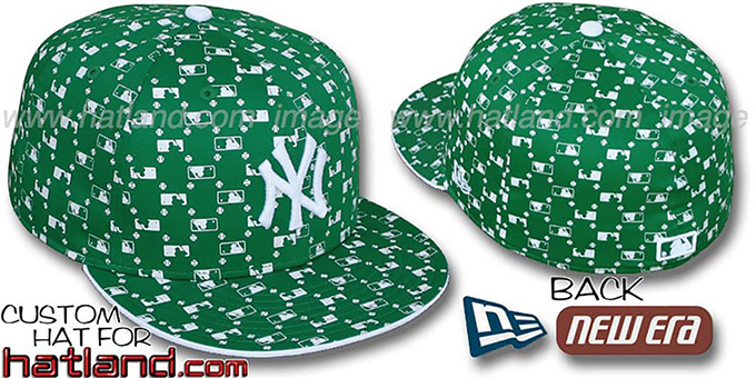 Yankees 'MLB FLOCKING' Kelly Fitted Hat by New Era : pictured without stickers that these products are shipped with