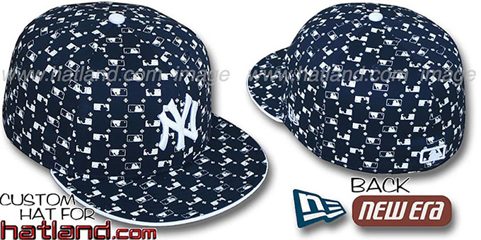Yankees 'MLB FLOCKING' Navy Fitted Hat by New Era : pictured without stickers that these products are shipped with