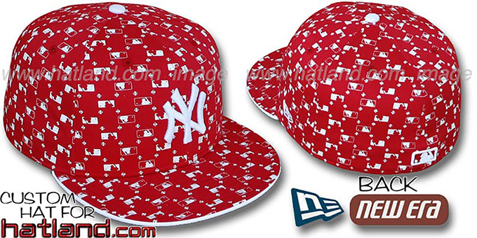 Yankees 'MLB FLOCKING' Red Fitted Hat by New Era : pictured without stickers that these products are shipped with