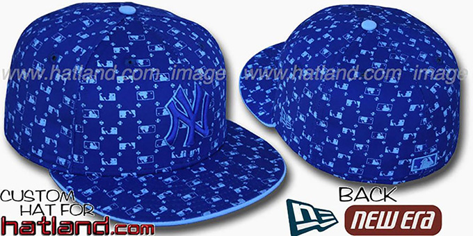 Yankees 'MLB FLOCKING' Royal Fitted Hat by New Era : pictured without stickers that these products are shipped with