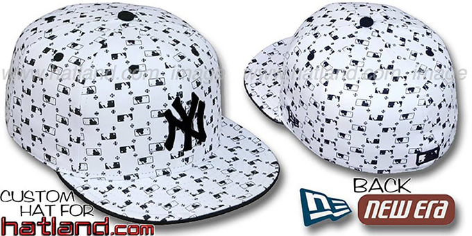Yankees 'MLB FLOCKING' White-Black Fitted Hat by New Era : pictured without stickers that these products are shipped with