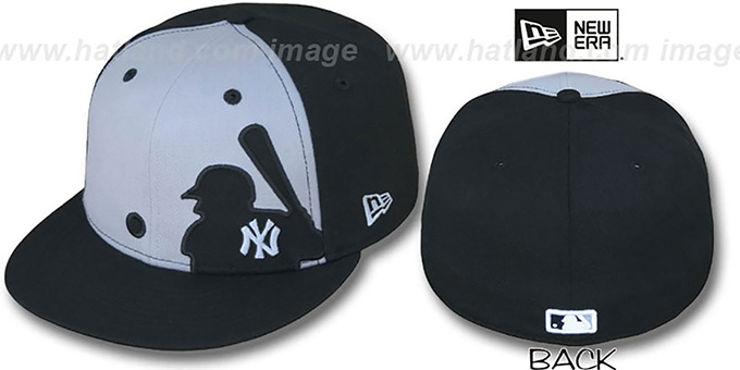 Yankees 'MLB SILHOUETTE' Grey-Black Fitted Hat by New Era : pictured without stickers that these products are shipped with