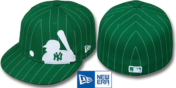 Yankees 'MLB SILHOUETTE PINSTRIPE' Green-White Fitted Hat by New Era : pictured without stickers that these products are shipped with