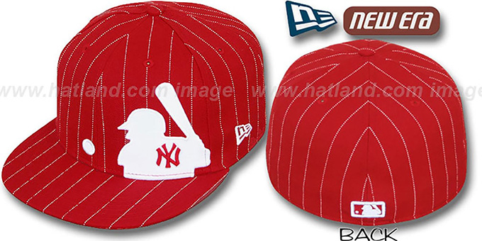 Yankees 'MLB SILHOUETTE PINSTRIPE' Red-White Fitted Hat by New Era : pictured without stickers that these products are shipped with