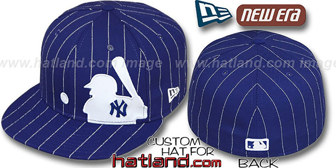 Yankees 'MLB SILHOUETTE PINSTRIPE' Royal-White Fitted Hat by New Era : pictured without stickers that these products are shipped with