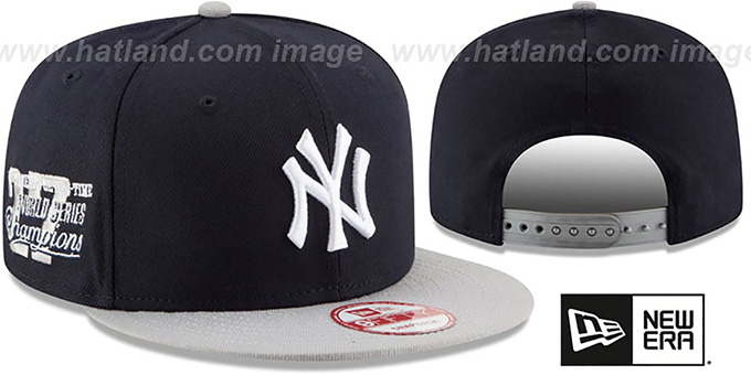 Yankees 'MLB STAR-TRIM SNAPBACK' Navy-Grey Hat by New Era : pictured without stickers that these products are shipped with