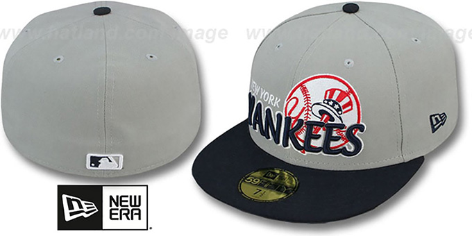 Yankees 'MLB-TIGHT' Grey-Navy Fitted Hat by New Era : pictured without stickers that these products are shipped with