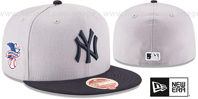 Yankees 'MLB WOOL-STANDARD' Grey-Navy Fitted Hat by New Era : pictured without stickers that these products are shipped with
