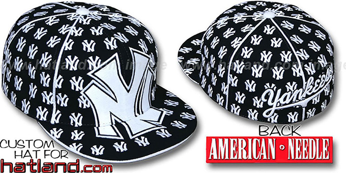 Yankees 'MONSTER DICE ALL-OVER' Black-White Fitted Hat by American Needle : pictured without stickers that these products are shipped with