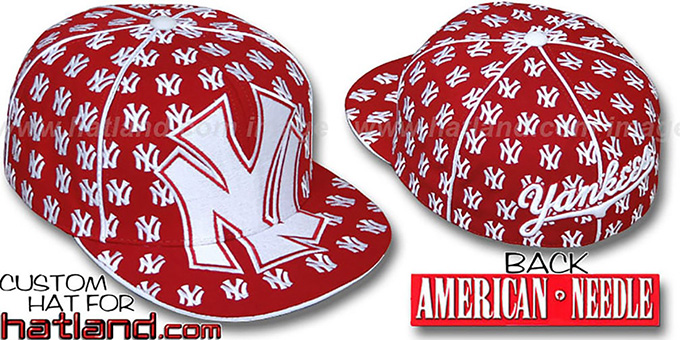 Yankees 'MONSTER DICE ALL-OVER' Red-White Fitted Hat by American Needle : pictured without stickers that these products are shipped with