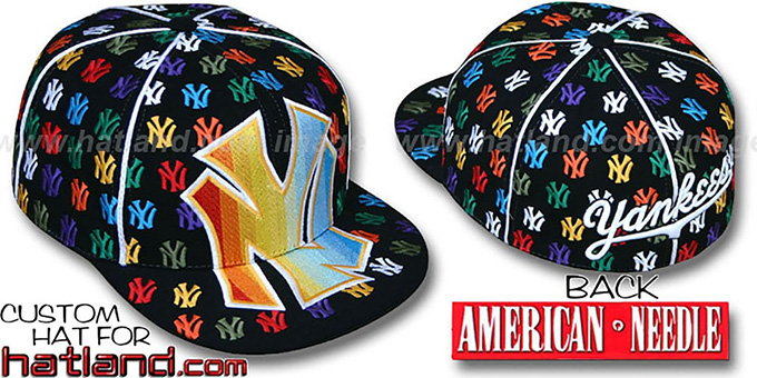 Yankees 'MONSTER RAINBOW DICE ALL-OVER' Black Fitted Hat by American Needle : pictured without stickers that these products are shipped with