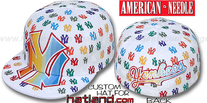 Yankees 'MONSTER RAINBOW DICE ALL-OVER' White Fitted Hat by American Needle : pictured without stickers that these products are shipped with