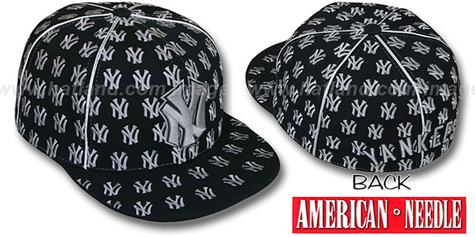 Yankees 'DICE ALL-OVER' Black-Grey Fitted Hat by American Needle : pictured without stickers that these products are shipped with