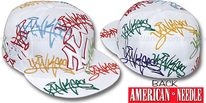 90a99b2fdf8 Yankees MULTI  TAGGIN ALL-OVER  White Fitted Hat by American Needle