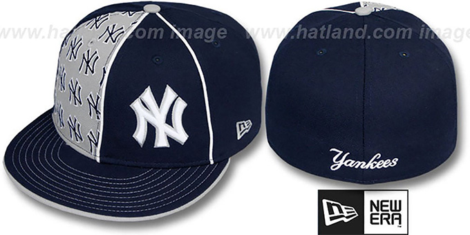Yankees 'MULTIPLY' Navy-Grey Fitted Hat by New Era : pictured without stickers that these products are shipped with