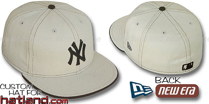 Yankees 'NATURAL DENIM' Fitted Hat by New Era : pictured without stickers that these products are shipped with