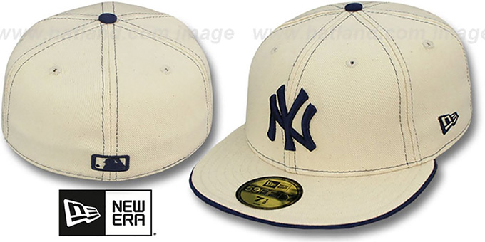 Yankees 'NATURAL DENIM2' Fitted Hat by New Era : pictured without stickers that these products are shipped with
