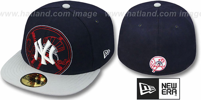 Yankees 'NEW MIXIN' Navy-Grey Fitted Hat by New Era : pictured without stickers that these products are shipped with