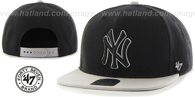 Yankees 'NO-SHOT SNAPBACK' Black-Grey Hat by Twins 47 Brand : pictured without stickers that these products are shipped with