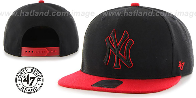 Yankees 'NO-SHOT SNAPBACK' Black-Red Hat by Twins 47 Brand : pictured without stickers that these products are shipped with