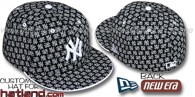 Yankees NY 'ALL-OVER FLOCKING' Black-White Fitted Hat by New Era : pictured without stickers that these products are shipped with