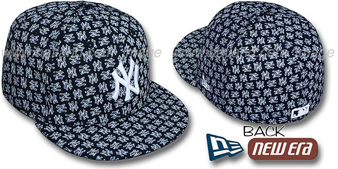 Yankees NY 'ALL-OVER FLOCKING' Navy-White Fitted Hat by New Era : pictured without stickers that these products are shipped with