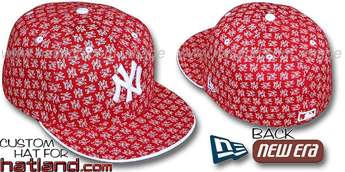 Yankees NY 'ALL-OVER FLOCKING' Red-White Fitted Hat by New Era : pictured without stickers that these products are shipped with