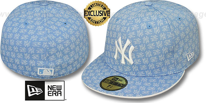 Yankees 'NY ALL-OVER FLOCKING' Sky-White Fitted Hat by New Era : pictured without stickers that these products are shipped with