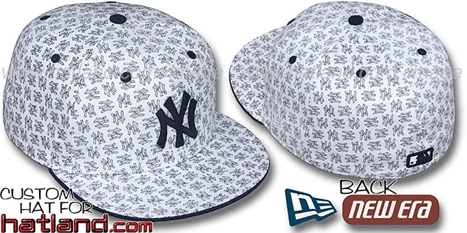 Yankees NY 'ALL-OVER FLOCKING' White-Navy Fitted Hat by New Era : pictured without stickers that these products are shipped with