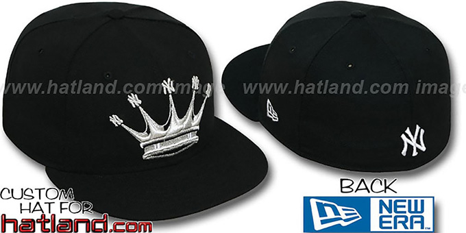 Yankees 'NY-CROWN' Black-Silver Fitted Hat by New Era