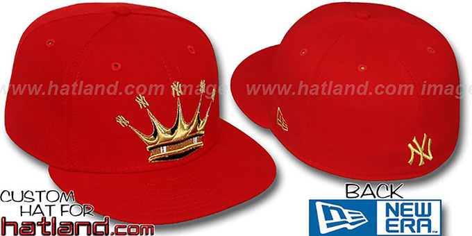 Yankees 'NY-CROWN' Red-Gold Fitted Hat by New Era : pictured without stickers that these products are shipped with