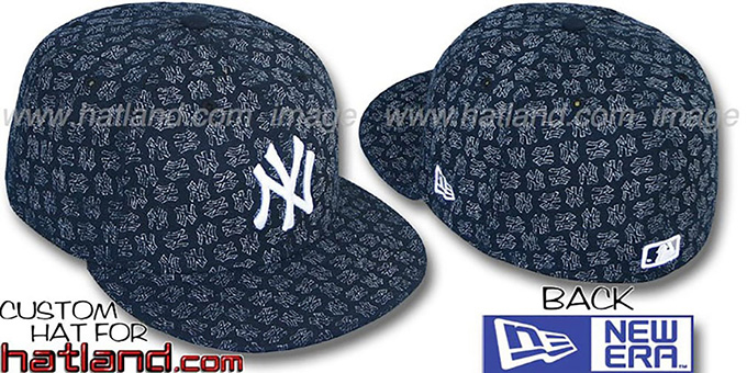 Yankees NY 'FADE ALL-OVER FLOCKING'  Navy-White Fitted Hat by New Era : pictured without stickers that these products are shipped with