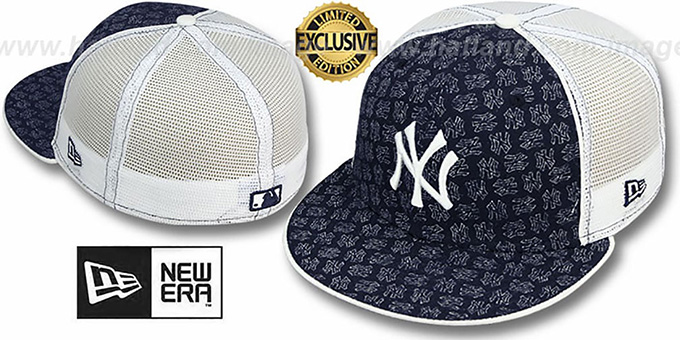 Yankees NY FADE 'FLOCKING' Mesh-Back Fitted Hat by New Era : pictured without stickers that these products are shipped with