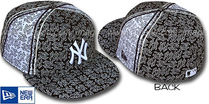 Yankees NY-'PJs FLOCKING PINWHEEL' Brown-White Fitted Hat by New Era : pictured without stickers that these products are shipped with