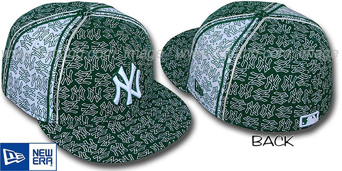 Yankees NY-'PJs FLOCKING PINWHEEL' Green-White Fitted Hat by New Era : pictured without stickers that these products are shipped with