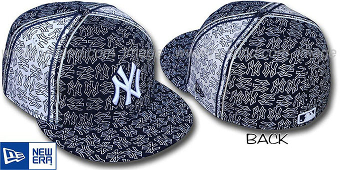 Yankees NY-'PJs FLOCKING PINWHEEL' Navy-White Fitted Hat by New Era : pictured without stickers that these products are shipped with